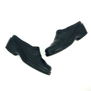 Dansko Black Leather Slip-on Clogs